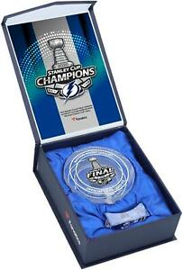 Tampa Bay Lightning 2020 SC Champs Crystal Puck - Filled with Ice From Final