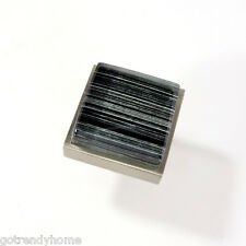 Black & Gray Hand Painted stripe Crystal Glass Cabinet Brush Nickel Drawer knob