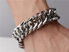 【from USA】Rocker Biker Gothic 8.5 inch Cuban Curb Links Stainless Steel Bracelet