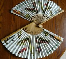 Vintage Cathay Pacific Airlines, 2 Paper & Bamboo Hand Fans, Advertising