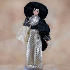 """Heritage Musical Black and White Harlequin Porcelain Doll 16.5"""" Wide Brimmed Hat"""