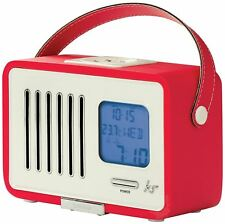 KitSound Swing Mini Portable 1920s Style Retro FM Radio with Alarm Clock - Red