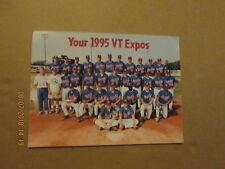 NYPL VT Expos Vintage Defunct Circa 1995 Color 81/2 x11 Baseball Team Photo