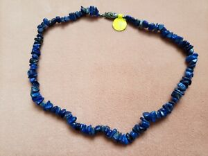 """Hand- Made GENUINE * LAPIS * NECKLACE 15"""" Long - Made in USA"""