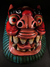 M163 Hand Craft Painted wooden Animal Lion Head Mask Wall Hanging Decor Nepal
