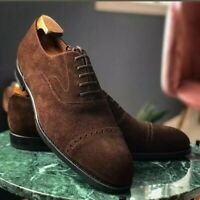 NEW-Handmade Men Brown Suede Leather Lace Up Formal Dress Leather Shoes For Men