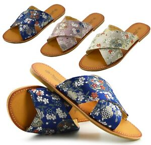 Ladies Summer Slippers Womens Flat Sandals Flip Flops Beach Holiday Wide UK