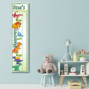 PERSONALISED DINOSAUR HEIGHT CHART - DESIGN 2 - ANY NAME (1FT X 4FT) - CHILDRENS