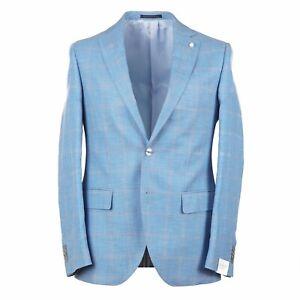 Luigi Bianchi Bright Sky Blue Check Wool-Silk-Linen Sport Coat 38R (Eu 48)