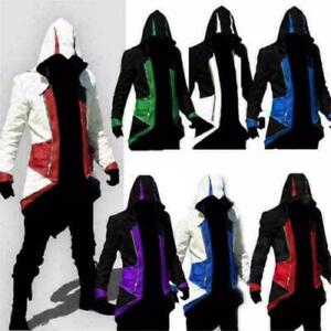 Men's Hoodie Jacket Kenway Assassins Creed 3 Connor Costume Party Cosplay Coat ~