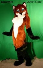 Long Fur Miss Fox Mascot Costume Fursuit  Cosplay Party Dress Outfits  Carnival