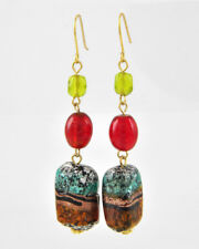 FRESH PRODUCE Gold Brass Red Turquoise Metallic Drop Earth Tone Earrings NWT New