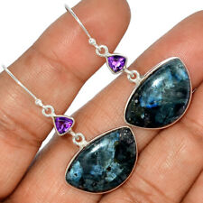 Larvikite Stone Black Moonstone - Norway 925 Silver Earrings AE123539
