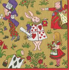 Alice in Winter Wonderland Gold Caspari Paper Lunch Napkins 33cm sq 20 pack
