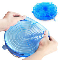 6 pcs/Set Food and Bowl Covers Cleaning Fresh Keeper Silicone Stretch Lids
