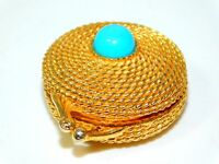 Vintage Estee Lauder Gold Tone  Solid Perfume Case Holder Turquoise Stone