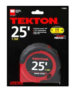 25 ft. x 1 in. Tape Measure Rapid Read Quick Stop 1-inch x 25' ft Measuring Tape