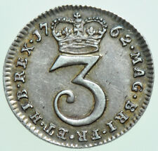 More details for 1762 george iii maundy threepence, 6 over 6, british silver coin ef