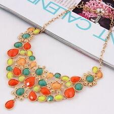 18K Gold Plated Multi Colorful Choker Statement Necklaces Women Fashion Jewelry