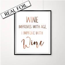 Wine Quote Print / Copper Foil Wine Art / Kitchen Poster / Home decor prints