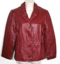 Clio Petites Women Leather Jacket Car Coat Button Up Lined Red Burgundy Medium