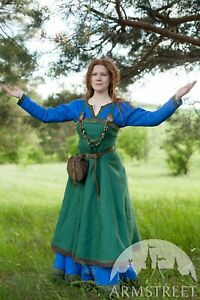 "Viking Apron ""Ingrid the Hearthkeeper"" for LARP, SIZE 12, blue color"
