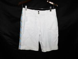 Nike Golf Size 4 White Blue Side Stripe Shorts Fit Dry Mid Rise Pockets Womens