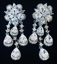 EARRING using Swarovski Crystal Dangle Drop Wedding Bridal Rhodium Silver CZ62