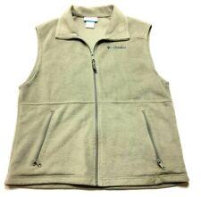 Columbia Mens Beige Zip Up Fleece Sweater Vest Size Medium