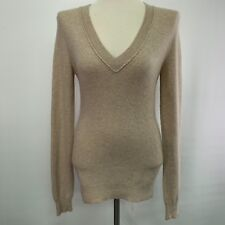 Scoop NYC Women's Sweater Medium Beige 100% Cashmere V-Neck