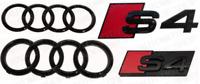 Audi S4 Black Rings Gloss Black Grille & Boot Badge Emblem Set Full  Set