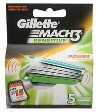 5 Gillette Mach 3 SENSITIVE POWER LAMETTE DA BARBA 5 lame Pack