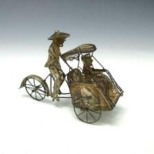 Vintage Chinese Sterling Silver Filigree Rickshaw Bicycle Figurine Sculpture 44g