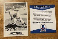Lefty Gomez Signed Autographed 1979 TCMA Renata Galasso Card 76 Beckett BAS Cert