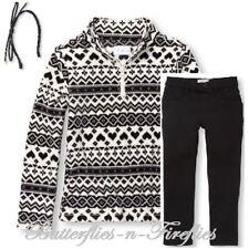 NWT The Children's Place 3pc Set Black Fleece Pullover Jegging Headband Girl S 6