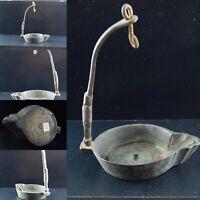 ANTICO 1700 LUMINO LUCERNINO A OLIO IN OTTONE ANTIQUE OIL SMALL LAMP