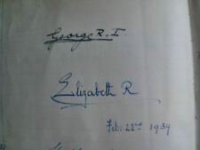 1939 Signed Autographs King George VI & Elizabeth & many others!