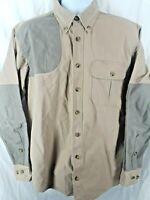 Cabela's Mens Size M Tall Shooting Shirt Khaki & Green Long sleeve Button Front