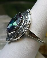 5ct*Mystic Topaz* Sterling Silver Victorian Wreath Filigree Ring (Made To Order)