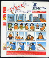 new LIVINGSTON italian airline SAFETY CARD A320 sc671 no Alitalia ax