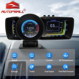 Smart Car OBD2+GPS Gauge HUD Speedometer Display Water Temp Turbo Boost Scanner