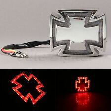 Motorcycle Chrome Cross 28LED Tail Rear Stop Brake Light Lamp for Chopper Bobber