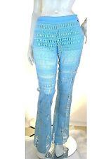 Pantaloni Donna in Pizzo REBEKA ROSS by RISSKIO Italy H994 Celeste Tg 42