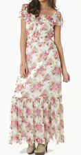 LIPSY Bardot Floral Print Ruffled Maxi Long Dress 4 US / 8 UK $139