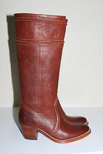 New  sz 6 Frye Jane 14 Redwood Brown Leather Riding Tall Pull On Boot Heel Shoes