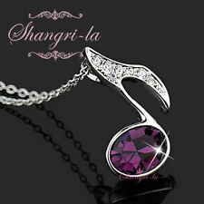 18K White GOLD Plated Purple Music Note NECKLACE with SWAROVSKI CRSYTAL L267