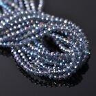 500pcs 4x3mm Rondelle Faceted Crystal Glass Loose Beads Ink Blue AB
