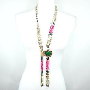 Bohemian Artisan Double Strand Multistone Beaded Lariat Style Necklace