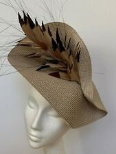 Natural beige feather saucer disc hat Fascinator Wedding Ascot Derby Races hair