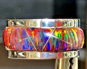7.5 HEAVY SOLID STERLING SILVER RED FIRE OPAL WIDE BAND UNISEX RING PIPE CUT P